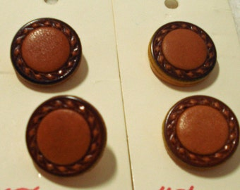 Four Brown Leather Look Vintage Buttons on Cards, 4 buttons on 2 cards
