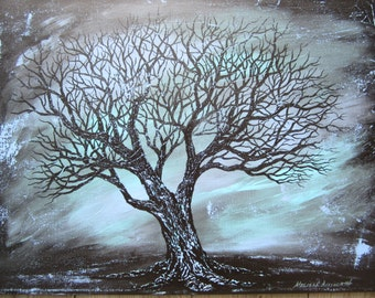 Old oak tree original 18 x 24 abstract acrylic painting