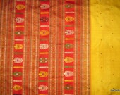 Pure Silk Sari - vintage Indian sari wrap dress in Yellow and Red color