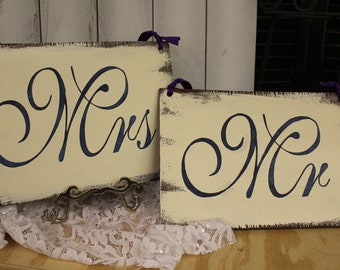 MR - MRS Chair Signs/Wedding Sign/Photo Prop/U Choose Colors/Great Shower Gift/Navy/IvoryBrown