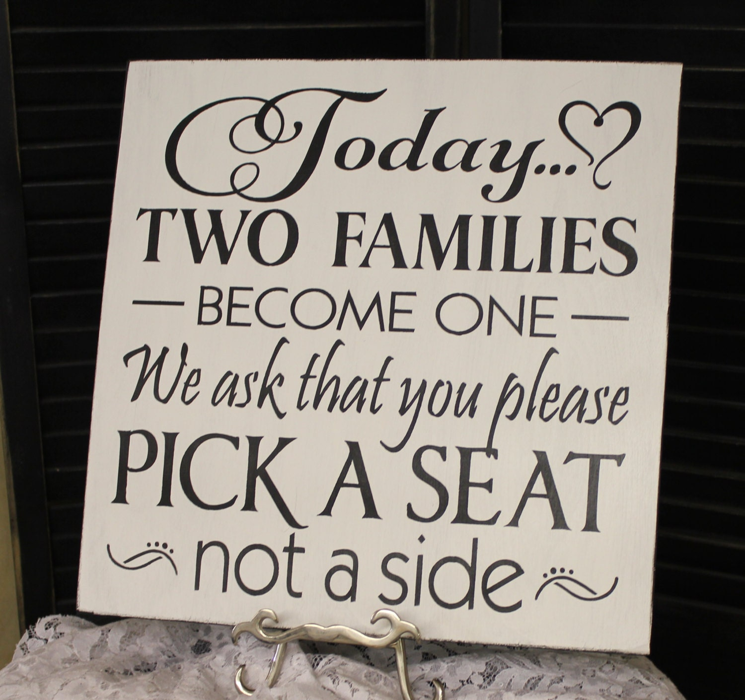 Wedding Signs Today Two Families Become One Pick A Seat