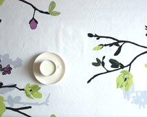 """Tablecloth white green purple grey tree tender shoots 37""""x56"""" or made to order your size, also  curtains available, great GIFT"""