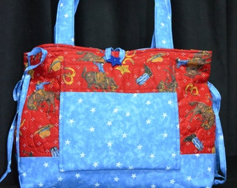Large Everyday Red & Blue Cowboy Tote