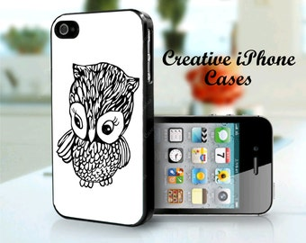 iPhone 4 Case Cute Little Owl black and white iPhone 4/4s, iPhone 5/5s, iPhone 5C, iPhone 6, iPhone 6 Plus