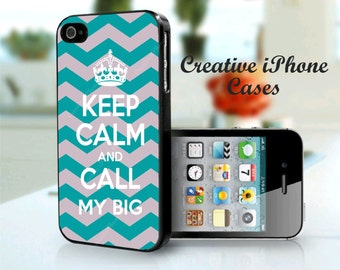 Keep Calm and Call My Big Teal and Grey - iPhone 4 Case, iPhone 4S Case, iPhone 5 Case, iPhone 5S Case, iPhone 5C