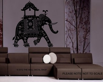 Large Decorated Indian Elephant - Wall Decal - Wall art Sticker - ( black outline shown )