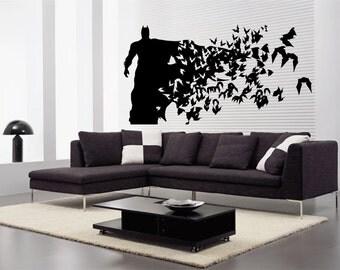 Batman  ( Large Size) - Wall Decal - Wall art Sticker - ( Black outline shown )