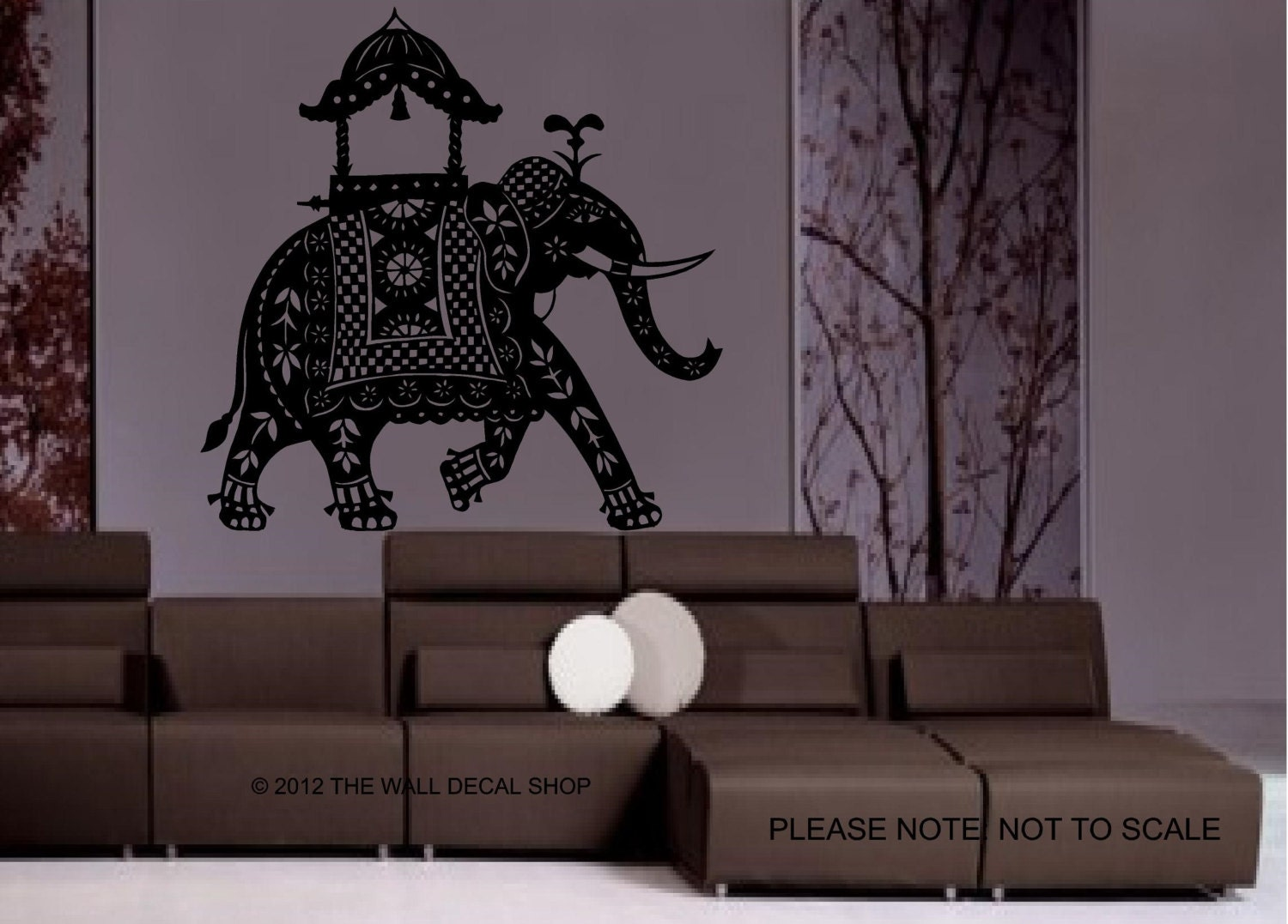 Large Decorated Indian Elephant Wall Decal by ...