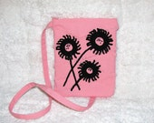 Pink Small Purse Long Strap with Black Crocheted Flowers & Beading - Womens Shoulder Bag -  Twill Bag with Fringe