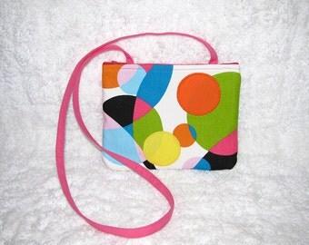 Retro Print Small Purse Long Pink Strap Home Décor Fabric  Appliqued Bright Dots - Womens Shoulder Bag