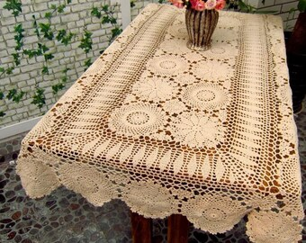 "Crocheted  Tablecloth  Rectangular  Beige  36x62""( 90x160cm)"