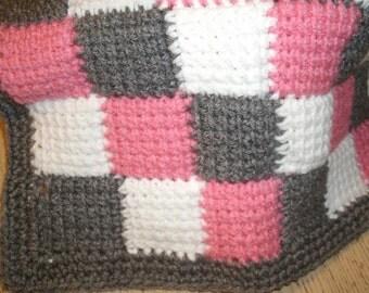 Crochet Entrelac Blanket Twin Size Bed Afghan Kids Home Decor