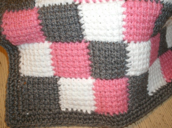 Items similar to Crochet Entrelac Blanket Twin Size Bed Afghan Kids Home Deco...