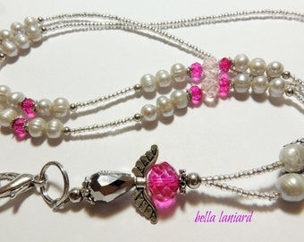 BLPA008    Angelic Fuchsia, Pink and Gray  Freshwater Pearls Lanyard