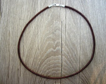 "3mm Genuine Leather Cord Necklace - Pure Sterling Silver Clasp/Catch - Natural Brown - 16""/18""/20""/22""/24"" inch - mens"