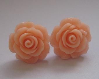 SALE Peach Open Rose Earrings
