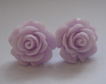 Light Lilac Open Rose Earrings