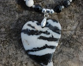 Zebra Jasper Heart Pendant Necklace - 21 inches