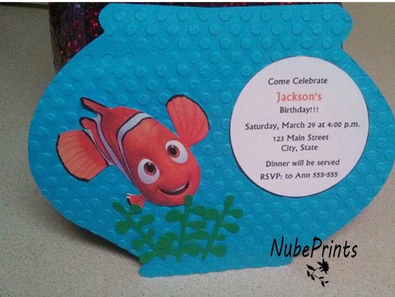 finding nemo invitation by nubeprints on etsy
