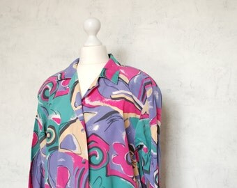 VTG 100% silk 80th blouse hot pink, green, purple
