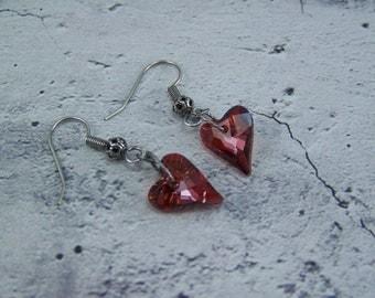 Crystal Heart Earrings, Red Magma Swarovski Wild Heart, Heart Earrings, Crystal Hearts, Wedding Earrings, Valentines, Love Earrings, Heart