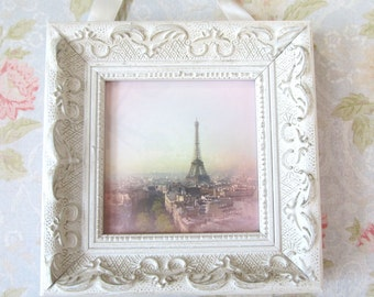Pink Paris Photo with Frame Shabby Chic Decor Pink Paris Decor Framed Art by Prchal Art Studio