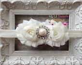 Baby Girl Headband - Ivory Double Flower Shabby Chiffon Headband with Pearl Rhinestone Center