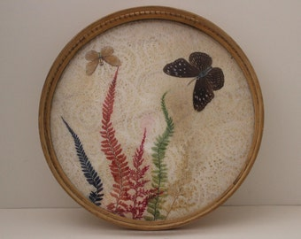 Vintage 60's Bamboo and Rice Paper Tray with Butterflies and Colored Ferns.