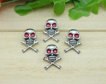 10pcs 25x15mm Silver PUNK Red Eyes Skull Rivet Studs,Heads Skeleton Rivets Buttons For DIY Finding Accessories,cloth Accessories