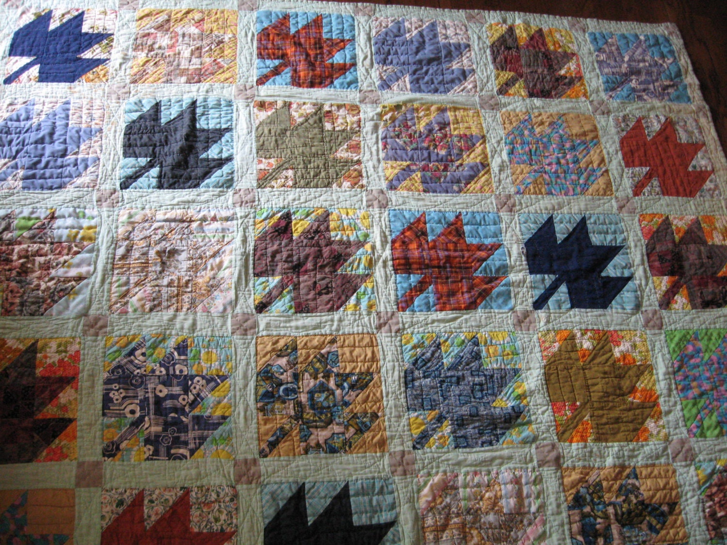 Vintage Colorful Maple Leaf Quilt Hand Quilted