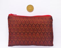 Handmade Cambodian Silk Zippered Pouch/ Clutch/ Accessories in maroon and red ethnic pattern 4X6 IN/ Gift/ Christmas Gift