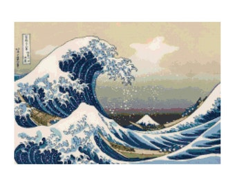 Handmade Great Wave at Kanagawa Fine Art PDF Cross-Stitch Pattern