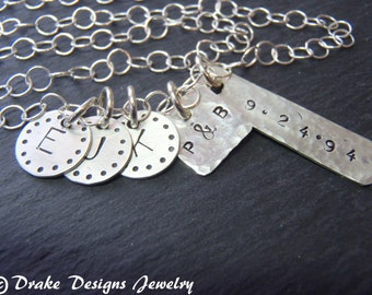 Family initial Necklace Sterling Silver Mommy Necklace Gift for mom
