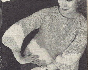 1962 Vintage Knitting Pattern - Chunky Knit Flared Womens Sweater