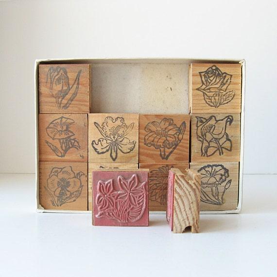 Vintage rubber stamp set flower design stamps box of 12