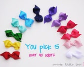 2-Loop Baby Hair Bows - 5 Pack 2.5 inch Classic Boutique Hairbow, Baby Hair Clips, Non Slip Alligator Clips
