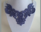 Lavender Dyed Lace Bib Statement Necklace - 18 inch