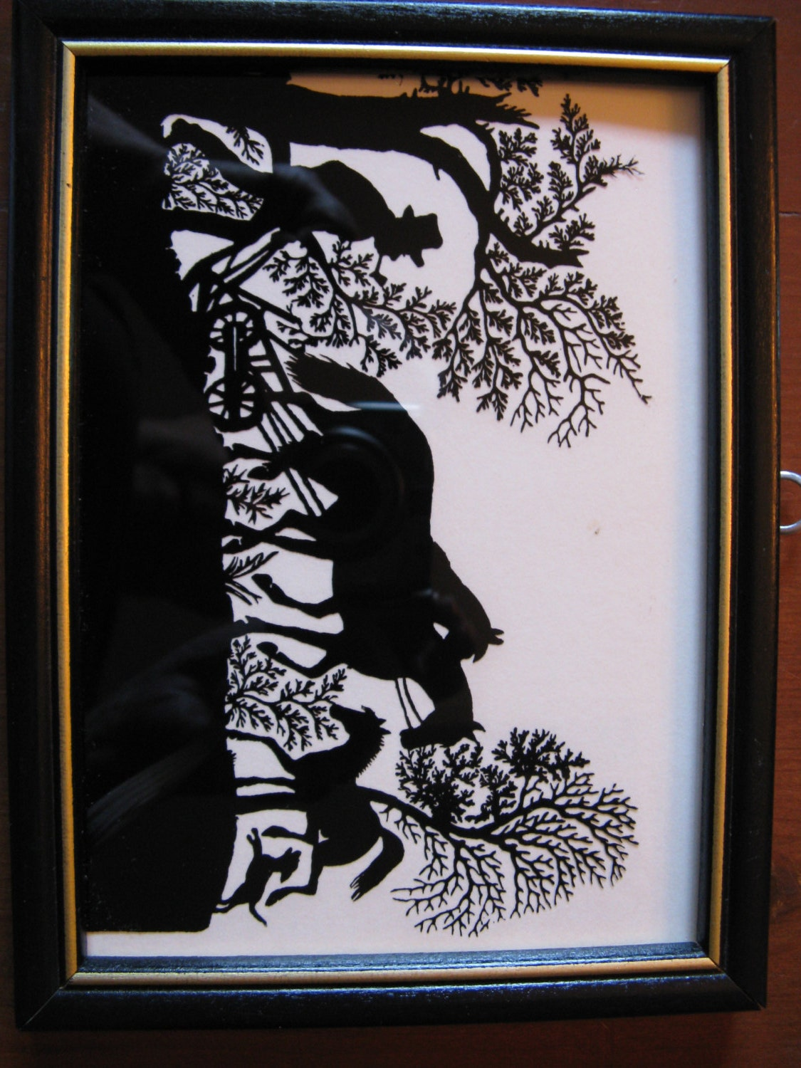 Vintage Farm Scene Reverse Silhouette In Black And White On