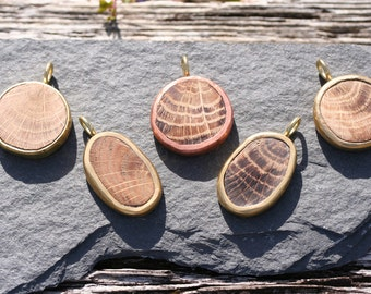 Cornish Hand Carved Oak and Brass/Copper Pendants