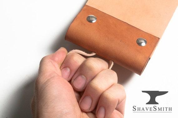 Supersized Razor Strop Kit: Leather Hanging Strop, and Abrasive Balsa Wood