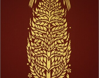 Thai traditional stencil art of bodhi tree by spray paint on the stencil on cotton
