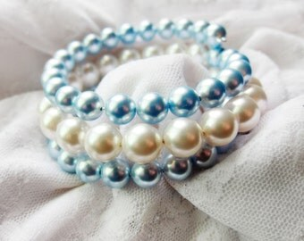 SALE ITEM Something Blue Beaded Pearl Wire Wrapped Bracelet, Wedding Jewelry, Bridesmaids, Stackable, Bridal, Shabby Chic