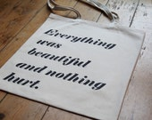 Kurt Vonnegut Everything Was Beautiful Slaughterhouse-5 Quote Book Canvas Bag Tote