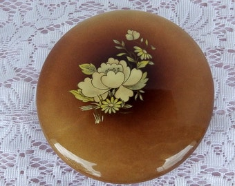 Vintage Hand Carved Alabaster Trinket Box from Italy