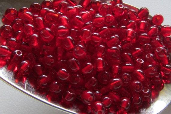 Czech red beads, 4mm round beads, Czech glass beads