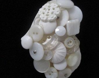 Vintage Button Pin White