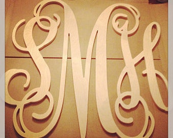 22 inch large 3 wooden vine connected monogram letter unfinishedunpainted wedding decor monogram