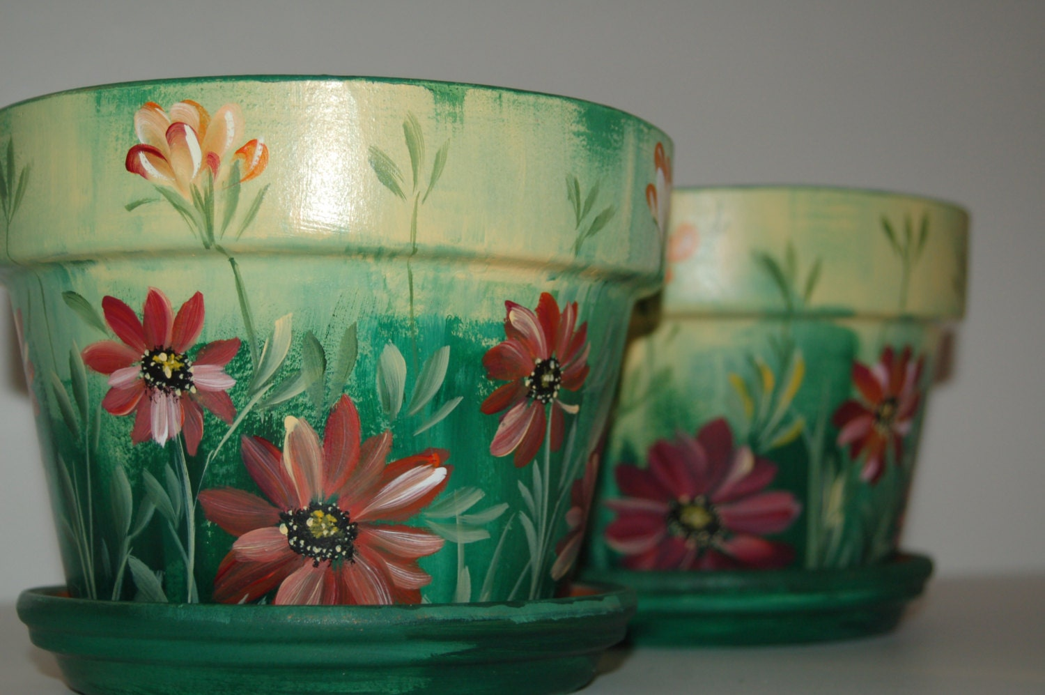 Set of two hand painted 7 39 39 wide clay flower pots by for Clay pots designs