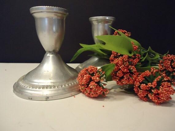 Vintage Silver Candle Holders, Delft, Vintage Wedding Decor