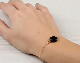 "Onyx bracelet, Black onyx bracelet, Black bridesmaid jewelry, simple bracelet, bridesmaid gift, stone bracelet, everyday jewelry, ""Moirae"""